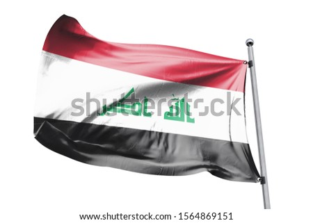 3d illustration of Iraq in White Background. Iraq Flag on pole for Independence day. The symbol of the state on wavy cotton fabric.
