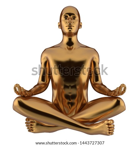 3d illustration of iron statue man yoga lotus position stylized gold figure. Human mental recreation person metallic. Peaceful calm spirit nirvana harmony symbol