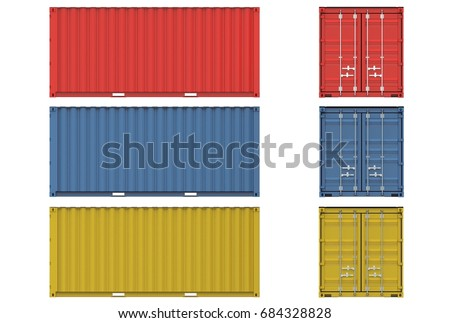 3d illustration of iso container isolated on white