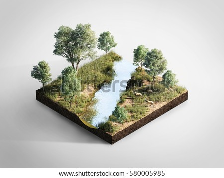 3D Illustration of Isometric Cross Section of Forest with Stream, Trees, Stags..