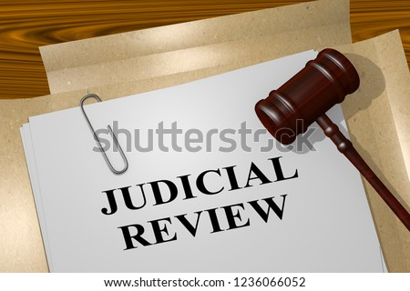 3D illustration of JUDICIAL REVIEW title on legal document