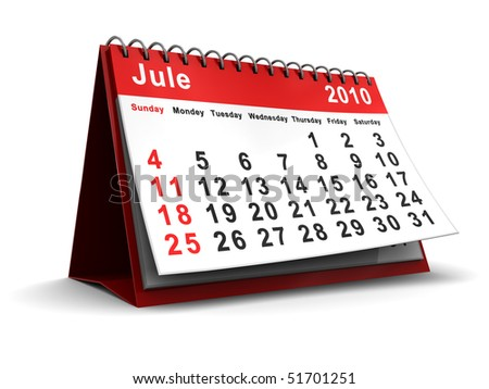3d illustration of jule 2010 desktop calendar, over white background