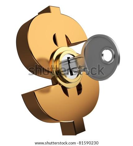 3d illustration of key locked dollar symbol