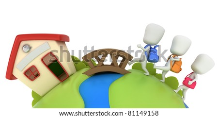 3D Illustration of Kids Going to School