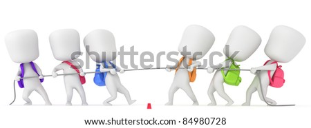 3D Illustration of Kids Playing Tug of War - stock photo