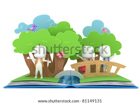 3D Illustration of Kids Popping Out of a Pop Up Book - stock photo