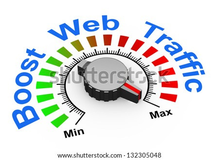 3d illustration of knob set at maximum for boosting web traffic.