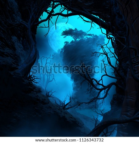 3D Illustration of landscape where one observes from inside a cave a great rock formation with vegetation in a dense and mysterious atmosphere