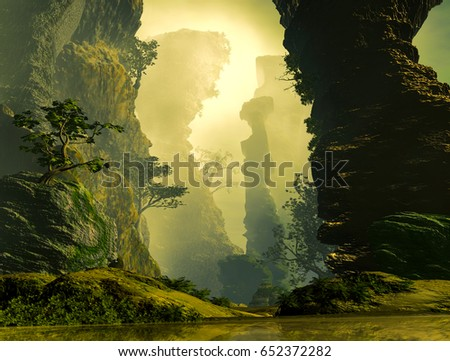 3D Illustration of landscape where one observes rocky formations with vegetation in a cloudy atmosphere