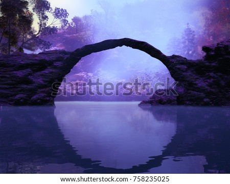 3D Illustration of landscape where you can see in the foreground a lake with rocks and a portal in the form of an arch and the background vegetation in a very cloudy atmosphere.