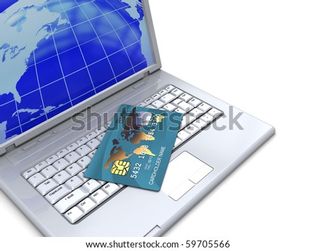 3d illustration of laptop computer and banking card, over white background