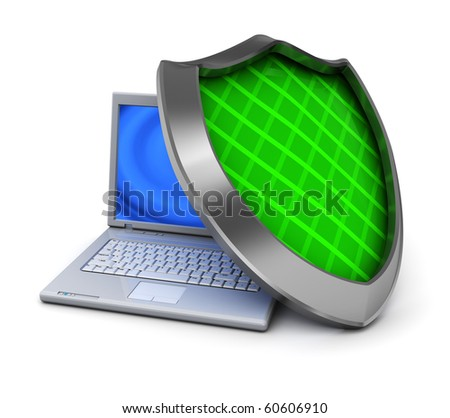 3d illustration of laptop computer and green shield, over white background