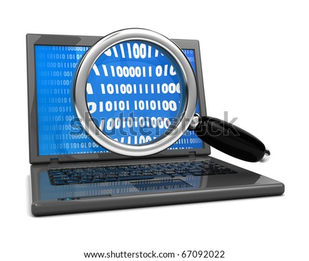 3d illustration of laptop computer and magnify glass,  information searching concept