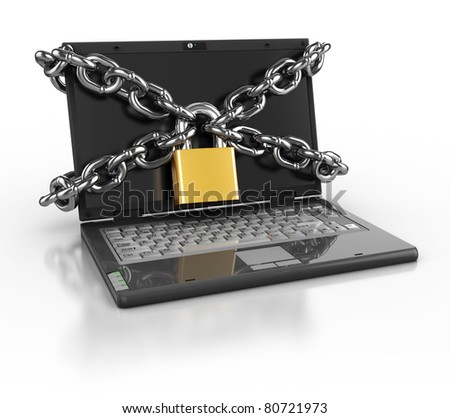 3d illustration of laptop computer locked with chains and padlock