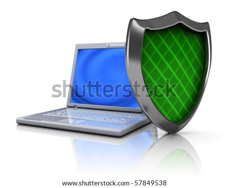 3d illustration of laptop protected by green shield