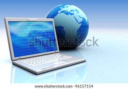 3d illustration of laptop with earth globe, internet concept background