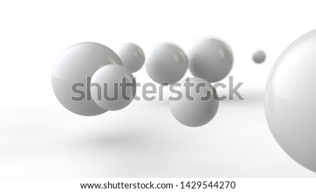 3D illustration of large and small white balls, spheres, geometric shapes isolated on a white background. Abstract, futuristic image of objects of perfect shape. 3D rendering #1429544270