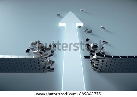 3d illustration of leading arrow breaking barrier.