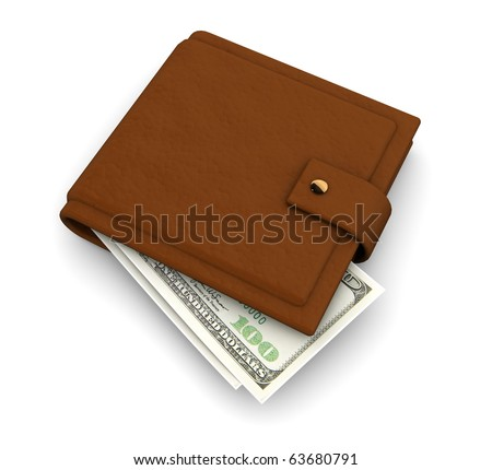 3d illustration of leather wallet with banknotes inside, over white background