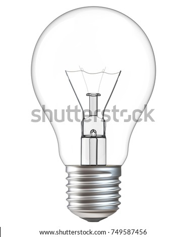 3d illustration of Light bulb isolated on white background. Realistic 3d rendering of incandescent lamp withe clipping path