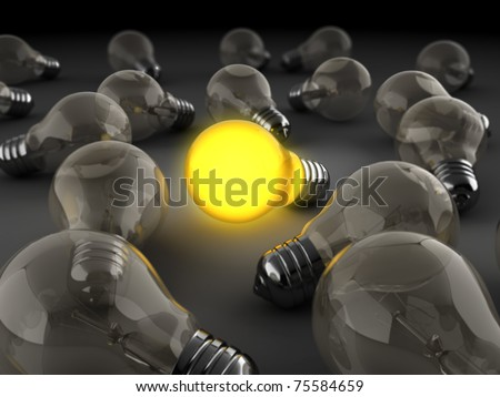 3d illustration of light bulbs crowd with one shining