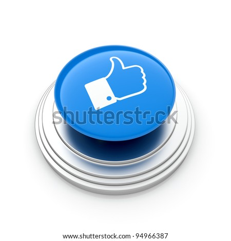 "3d illustration of ""Like"" button isolated on white background"