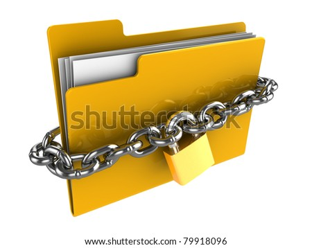3d illustration of locked folder isolated over white background - stock photo