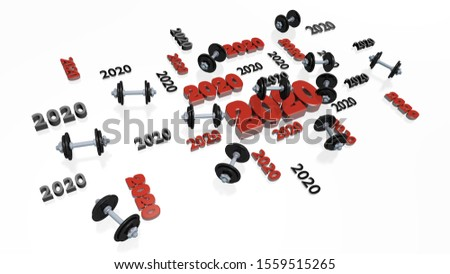 3D illustration of Lots of Hand Dumbbell 2020 Designs with several Dumbbells on a White Background
