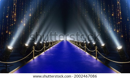 3D Illustration of Luxury Modern Blue Carpet Entry  with Spot Lights Golden Falling Particles Shimmer for show recognition award night. Fashion Event Night Concert Celebrity paparazzi Wedding Ceremony