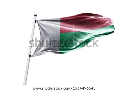 3d illustration of Madagascar in White Background. Madagascar Flag on pole for Independence day. The symbol of the state on wavy cotton fabric.