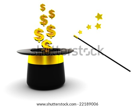 3d illustration of magic hat and dollar signs