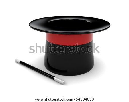 3d illustration of magic hat and stick over white background