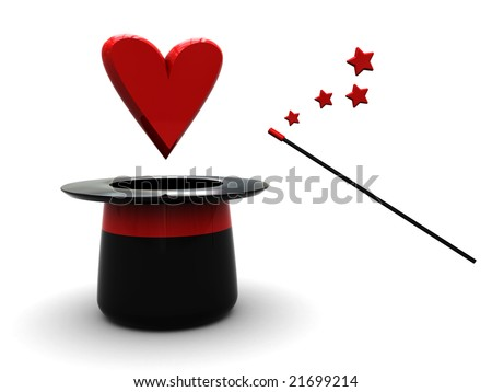 3d illustration of magic wand and hat with red heart