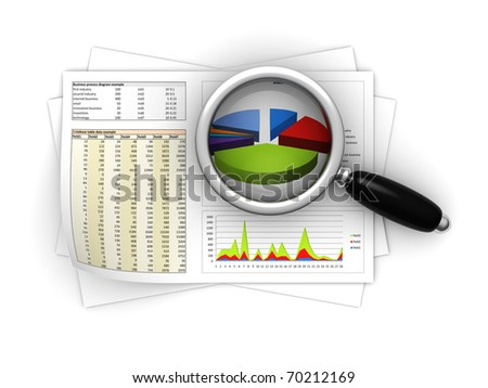 3d illustration of magnify glass on business reports