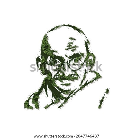 3D illustration of Mahatma Gandhi, The symbol with green forest. Gandhiji is a symbol of peace, Mahatma Gandhi is Messenger of peace, Gandhi Jayanti - Birthday 2nd of October, Indian national hero,