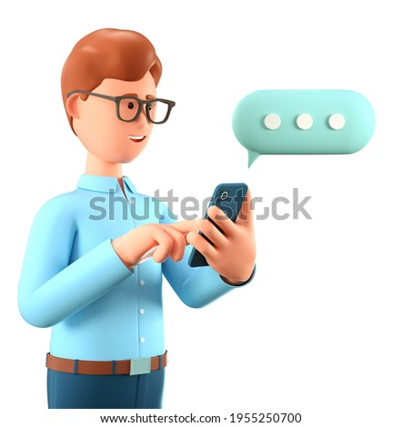 3D illustration of man chatting on the smartphone and speech bubble. Cute cartoon smiling businessman talking and typing on the phone. Communication in social networking, mobile connection.