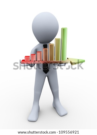 3d illustration of man holding growing progress bars on arrow. 3d rendering of human figure