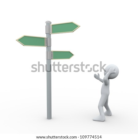 3d illustration of man in doubt about decision looking at road signs