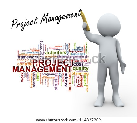 3d Illustration of man in front of wordcloud word tags and writing project management.  3d rendering of human character. - stock photo