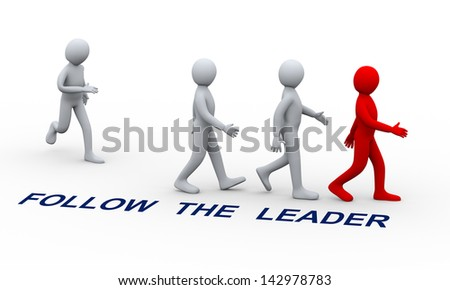 3d illustration of man joining group of people following his team leader.  3d rendering of human character and leadership and team work concept.