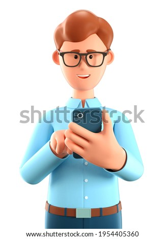 3D illustration of man looking at smartphone and chatting. Clute cartoon smiling businessman talking and typing on the phone. Communication in social networking, mobile connection.