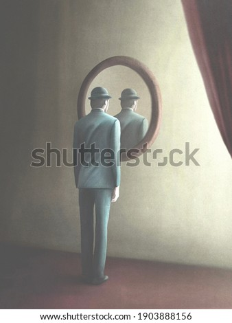 3D Illustration of man looking himself reflected in a mysterious mirror, surreal concept Сток-фото ©