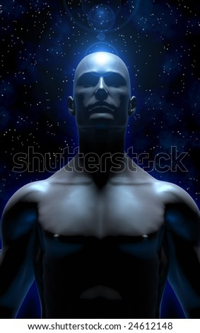 3D illustration of man meditating and transcending the material plane, becoming one with the universe