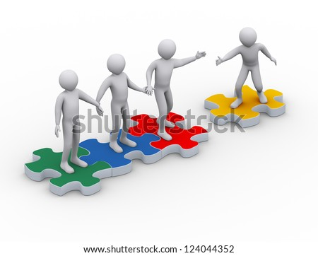3d illustration of man on puzzle piece joining group of people. 3d rendering of people - human character.