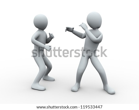 3d illustration of man posing and fighting with another person. 3d rendering of human character.