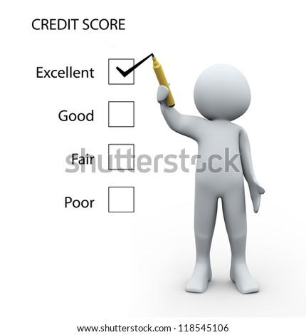 3d Illustration of man rating credit score glass board. 3d rendering of human character