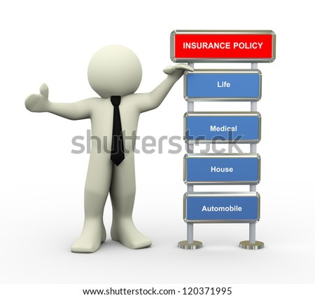 3d illustration of man standing with various type of insurance policy