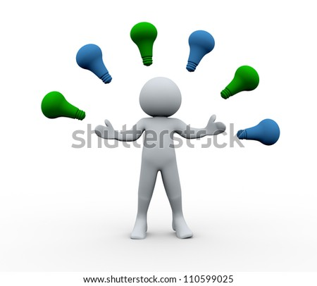3d Illustration of man surround with idea bulbs. 3d rendering of human character