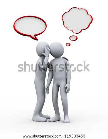 3d illustration of man telling secret to another person. 3d rendering of human character.