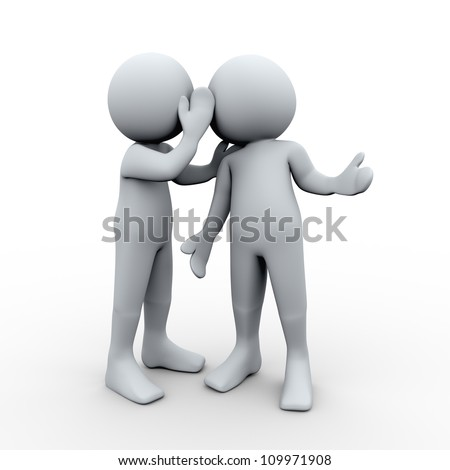 3d Illustration of man whispered a secret in other man's ear. 3d rendering of human character